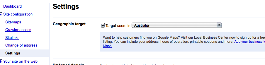 Localized Targeting In Google Webmaster Tools