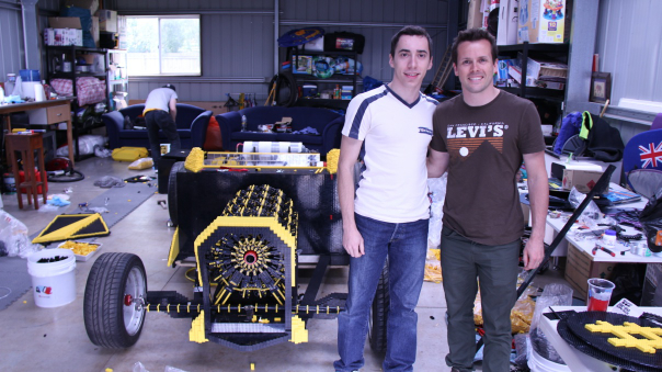 Raul & Dave with the life size Lego car.