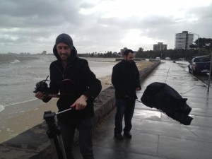 Here's a cool photo from a recent MelbourneVideo.com.au shoot on perhaps one of the windiest days in Melbourne.
