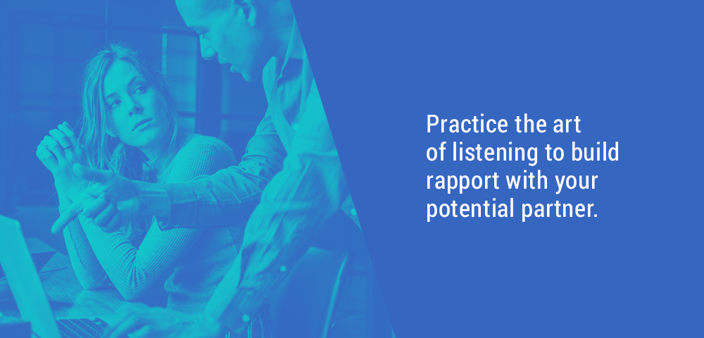 art of listening to build rapport with potential partner